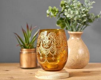 Henna Art Vase, Minimalist Decor Amber Glass Bud Vase or Candle Holder, Modern Boho Decor for Your Tabletop, Henna Centerpiece