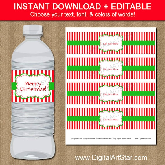 Christmas Water Bottle Labels EDITABLE Printable By