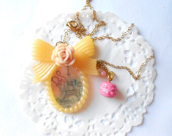 Souvenir from Paris - cameo with tour effeil and macaron charm - OOAK  one of a kind - handmade miniature polymer clay jewelry