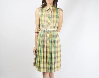 80s Plaid Day Dress, Sleeveless Shirtwaist Vintage Dress, 3726