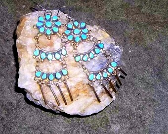 Vintage Zuni Turquoiose Chandelier Earrings, Old Pawn