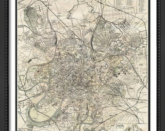 MAP of MOSCOW Russia in a Vintage Grunge Weathered Antique style