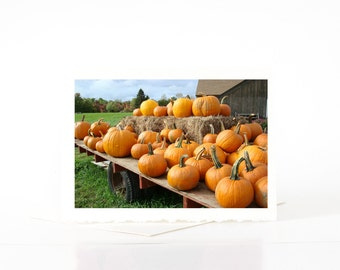 Orange Pumpkin Cards, Blank Photo Greeting Cards, Pumpkin Wagon, Halloween Cards, Fall Cards, Harvest Cards, Thanksgiving Cards, Card Sets