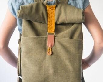Rolltop Backpack, Canvas Backpack, Crochet Backpack, Laptop Backpack, Green Backpack, Fabric Backpack, School Backpack, Green Laptop Bag