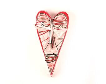 Modern ceramic, Abstract ceramic, Love ornament, Ceramic face, Art sculpture, Ceramic heart, Contemporary  sculpture