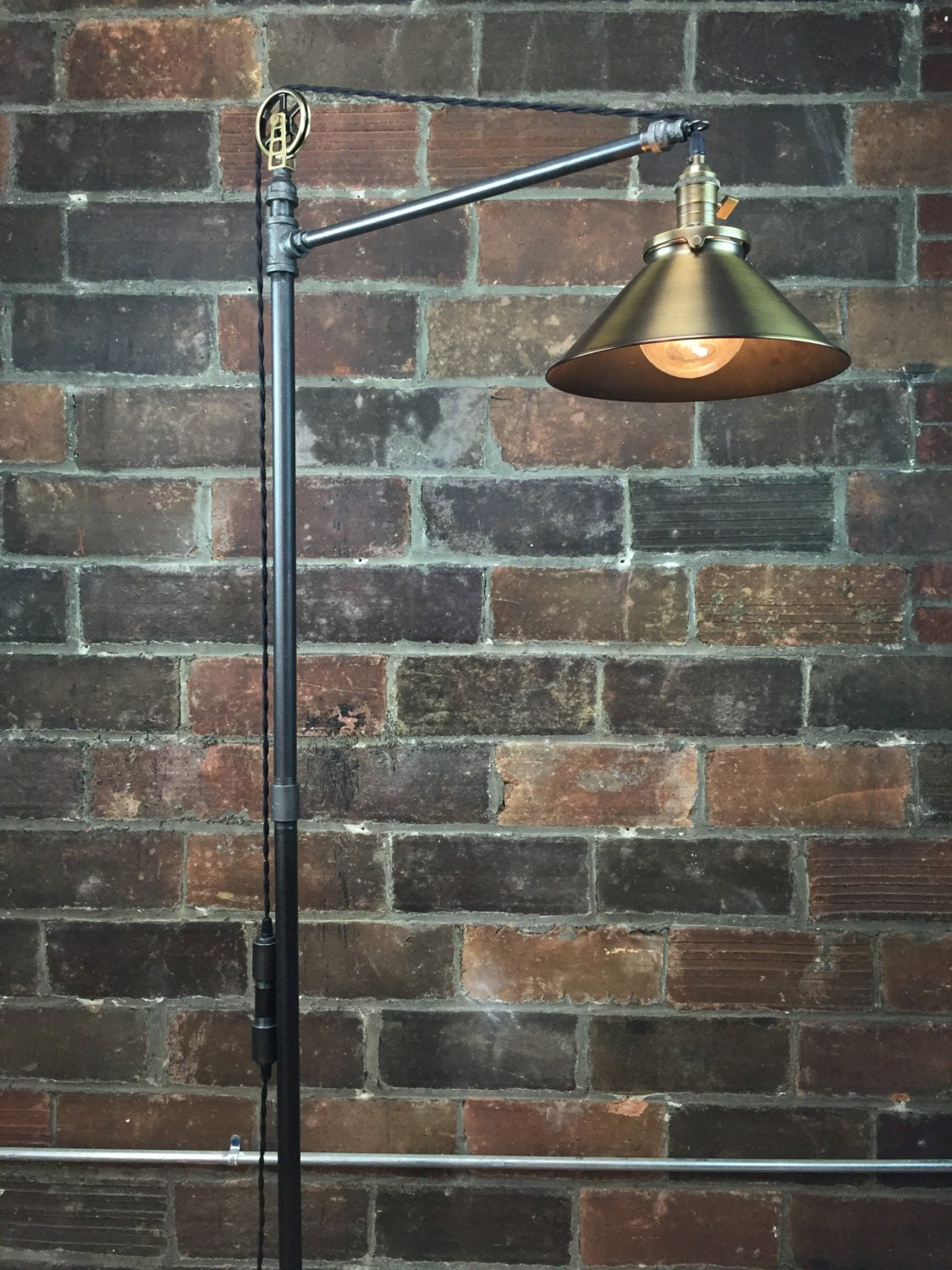 industrial floor lamp antique brass shade edison bulb. Black Bedroom Furniture Sets. Home Design Ideas