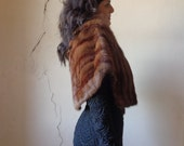 50s mink stole capelet with pockets/ Thalhimers// one size