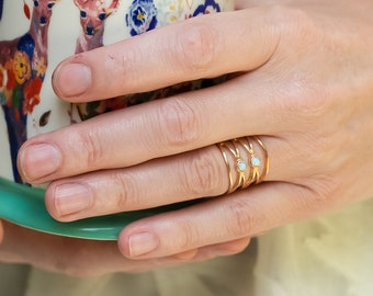 Rose Gold Ring, Opal Ring, Cross Ring, Spiral Ring, Pink Gold Ring, October Birthstone Ring, Statement Ring, Rose Gold Opal Ring