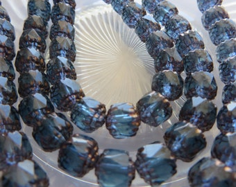 MONTANA BLUE Cathedral / Crown Beads with Bronze  8mm faceted Traditional Czech Beads ( 10 beads  ) Entire Order Ships for 1 LOW Flat Rate !
