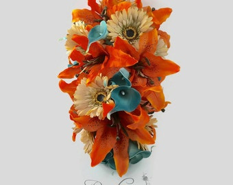 Cascading Bouquet, Tiger Lily Cascading Bouquet, Calla Lily Cascading Bouquet, Tiger Lily, Calla Lily, Daisy, Teal, Tan, Orange Bouquet