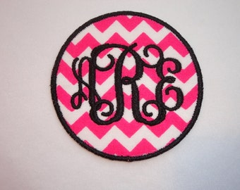 Monogrammed Patch, Initial Patch, Personalized Circle Interlocking Monogram Iron On Patch