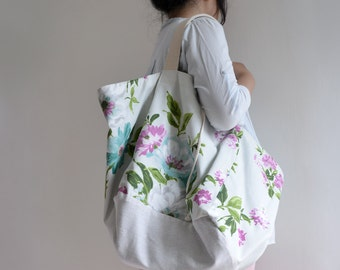 Floral Flower pattern Tote Bag - extra large reversible bag, double sided tote bag, cherry blossom spring peony
