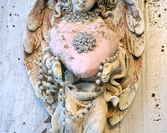 Cherub angel statue wall hanging pink heart shabby cottage chic angelic figure rhinestone crown distressed patina decor anita spero design