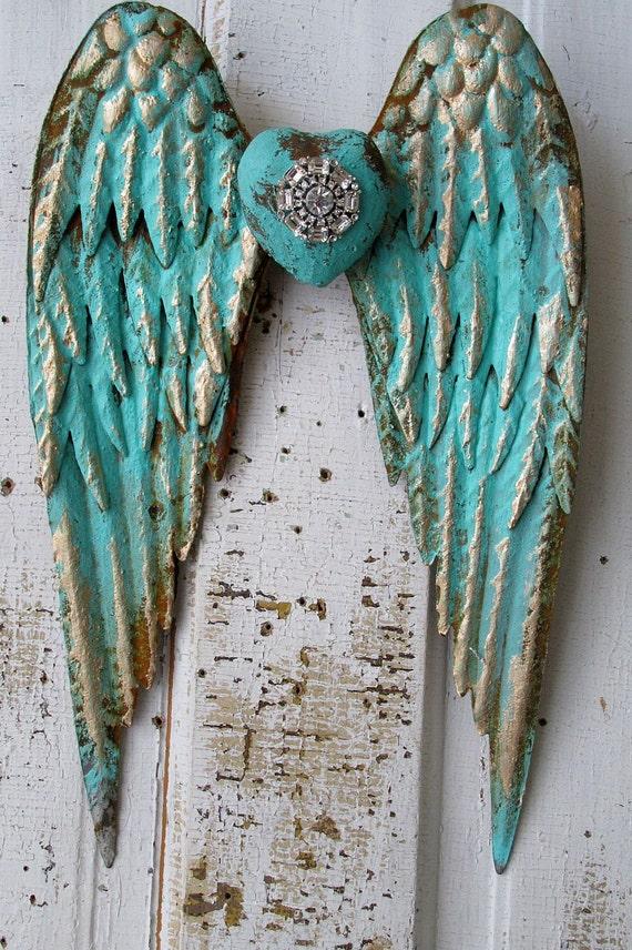 Metal Angel Wings Distressed Aqua Caribbean Blue Gold W