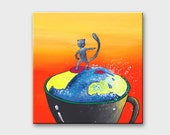 Pet canvas painting Cat surfing orange wall art Cat painting on canvas Art Coffee painting for kitchen Cat portrait Kitchen canvas art