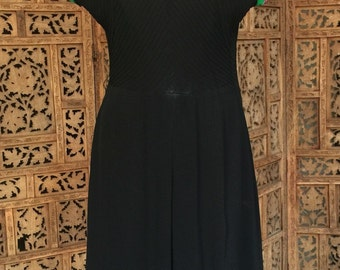 1940s Black Evening Dress with a Pin-Tucked Chevron Bodice Size M-L