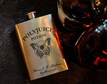 Polyjuice Potion - Harry Potter - Hogwarts - Potions - spells - Inspired - Wizards - 8oz Hip Flask