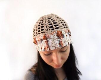 Natural SHABBY Crochet Hat Womens Hat, Summer Hat for Women, Crochet Fabric Hat Women, Natural Hat, Beige Beanie chemo