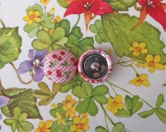 Wholesale Earrings / Fabric Covered Button Earrings / Handmade Jewelry / Cherry Print / Small Stud Earrings / Handmade Gifts