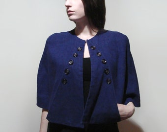 30's-40's Capelet Linen Button Cape Blue