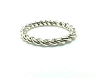 Sterling Silver Twisted Sterling Silver Ring,2.4mm,Rope Ring,Braided Twist Band,Stacking Ring,Twist Rope Ring,Knuckle Ring All US Sizes