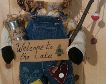 Welcome to the Lake fishing boy doll