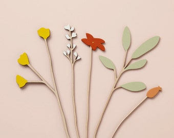 Wooden flowers - plywood flowers - Buttercup & Sage Set