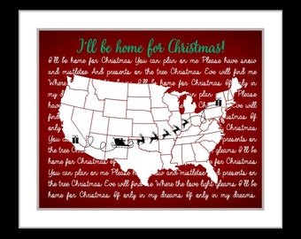 Long distance relationship christmas gift for boyfriend, gift for girlfriend christmas song lyrics map wall art print custom gift for couple