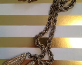 fantastic long gold chain vintage necklace with two dangle teardrops