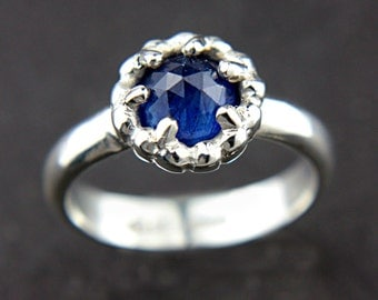 Rose Cut Blue Sapphire Ring Sterling Silver Rose Cut Natural Sapphire Ring Size 5,5-6 Prong Set Sapphire Engagement Ring