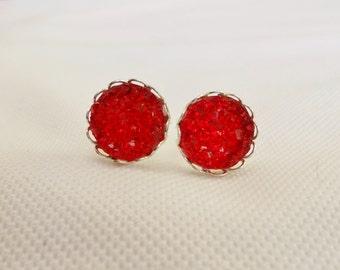 Druzy Stud Earrrings, Red Sparkle Studs, Red Faux Druzy Earrings, Stud Earrings, Red Druzy Studs, Red Jewelry, Druzy Jewelry, Druzy Earrings