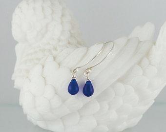 Sea Glass Drop Earrings - with handmade sterling silver ear wires, simple and elegant earrings, sea glass earrings
