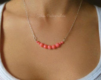 Pink Coral Necklace - Simple Strand Necklace - Dainty Petite Beach Wedding Necklace - Beaded Coral Necklace - Bridesmaid Gift Bridal Jewelry