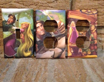 Rapunzel Electrical Outlet and Light Switch Cover Tangled, Nursery, Tangled Decoration, Rapunzul Decor, Baby Shower Flynn Rider, TAN1