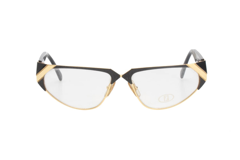 9ea200deb33 Fendi Vintage black   gold cello metal cateye eyeglasses - sunglasses frames  made in Italy by