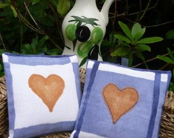 Two Heart Lavender Bags, Handmade Lavender Sachets, Organic Lavender, Scented Drawer Freshener, Heart Applique, Housewarming, Wedding Favour