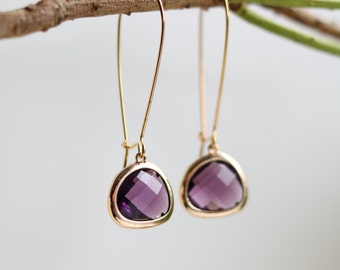 Amethyst Earrings - Gold Dangle Earrings - Stone Earrings - Drop Earrings - Birthstone Earrings - Purple Earrings  - Amethyst Jewellery
