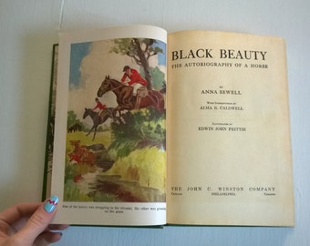 SALE Black Beauty by Anna Sewell -- The Autobiography of a Horse -- Vintage Classic Literature Library Book English Novel Cottage Home Decor