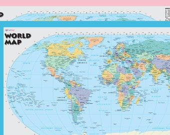 """World Wall Map Robinson Projection - 21""""x36"""" Rolled Paper/Laminated 2018"""