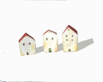 Three tiny houses / miniature houses /Home decor / Art / Gift