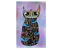 Cat Art Totem,whimsical cat,spiritual art,original painting on paper,cat lovers gift,shamanism