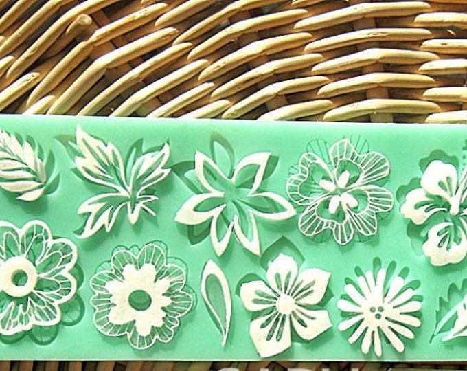 Flower Lace Silicone Mat Mold - L-024 - Baking Fondant Soap Chocolate Candy Jelly Wedding Leaves Vine Love Wedding