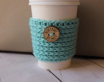 Robin's Egg Blue Crochet Coffee Cozy ~ Crochet Coffee Sleeve ~ Coffee Cozy ~ Coffee Sleeve ~ To Go Coffee Cup Sleeve