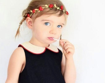 Red Headband, Grecian Headband, Flowers Headband, Greek Headband, Wedding Headpiece, Baby Headband, Gold Headband, Newborn Headband