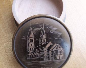 Vintage Wooden Round Box, Vintage Souvenier Box From Maribor, Home Decor Item