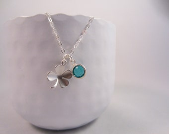 4 Leaf Clover Necklace and Birthstone,Clover necklace,necklace luck,Good luck necklace,Clover - Sterling Silver Chain