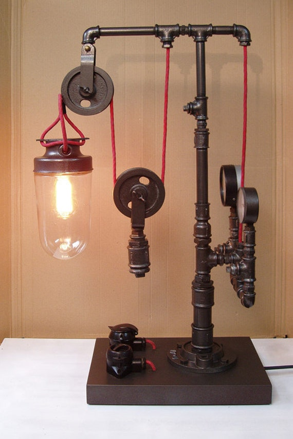 Steampunk Pipe Lamp On Wooden Pedestal With Wheel 06
