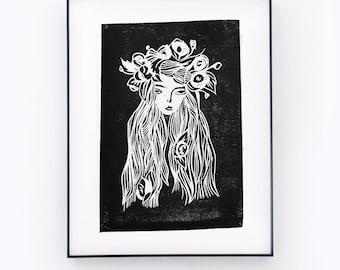 SAD BEAUTY   Handmade linocut print   Home decor   Girl illustration   Black and white wall art