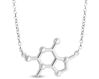 Theobromine Chocolate Molecule Chemical Structure Charm Pendant Jump Ring Necklace #925 Sterling Silver #Azaggi N0806S