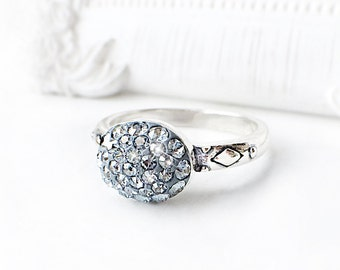 Crystal Blue Shade Swarovski Crystal Ring, Pale Blue Gray Sterling Silver Swarovski Crystal Ring